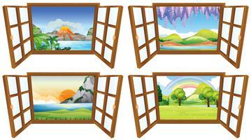 Vier natuurtaferelen door het raam vector
