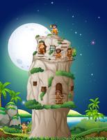 Grot mensen die in het stenen huis wonen