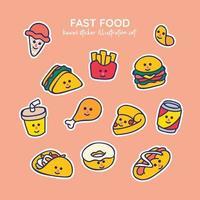 kawaii fastfood-ijs, gefrituurd, chip, sandwich, hamburger, coladrank, kip, pizza, taco, donut, hotdog, stickerillustratieset vector