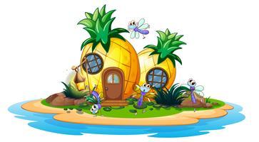 Ananashuis op eiland vector