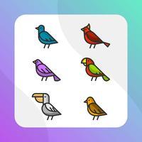 Vlakke kleurrijke vogel Vector Clipart-collectie