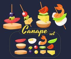 Canape Set Designer. Vector realistische illustratie