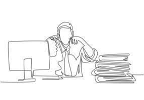 enkele doorlopende lijntekening van jonge gekke stressvolle zakenman die papier scheurt in zijn bureau op zijn kantoor. zakelijk project mislukking concept een lijn tekenen grafisch ontwerp vectorillustratie vector