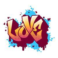 Platte moderne graffiti liefde belettering vectorillustratie vector