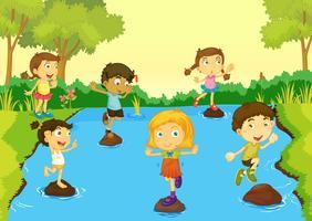 Kinderen spelen vector