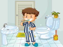 Weinig jongen die tanden in toilet borstelt vector