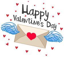 Gelukkige valentijnskaartkaart met vliegende envelop