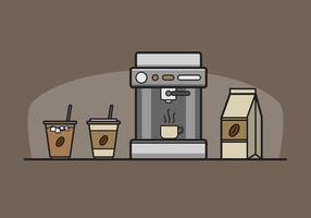 Koffie elementen Clipart Vector