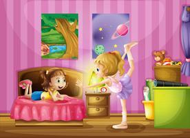 Twee jonge meisjes in een slaapkamer vector