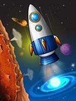 Rocketship vliegt rond de planeet