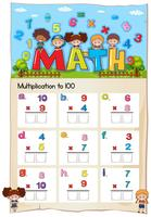 Math-werkblad voor vermenigvuldiging tot honderd vector