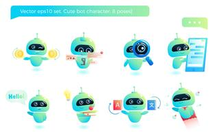 Schattige bot karakter set. Chatbot begroet. Online consultatie. Vector cartoon illustratie