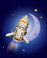 Ruimteschip dat in de ruimte vliegt vector