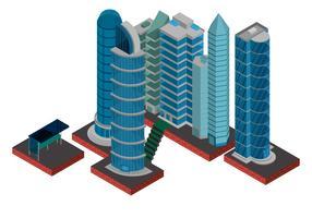 Isometrische industriële gebouwen Set en Asset vector