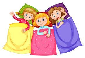 Meisjes in pyjama op slaapfeestje vector