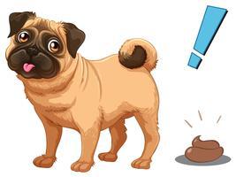 Hond en poep op witte achtergrond