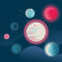 Ruimteachtergrond met verschillende fantastische planeten en manen vector