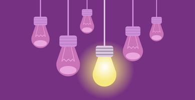 Innovatiebanner. Verschillende lampen op een paarse achtergrond, waarvan er één de rest aflicht. Platte vectorillustratie vector