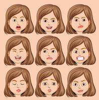 Set van meisje hoofd met verschillende gezichtsuitdrukkingen vector