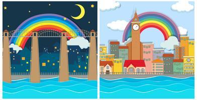 Een mooie moderne stad dag en nacht