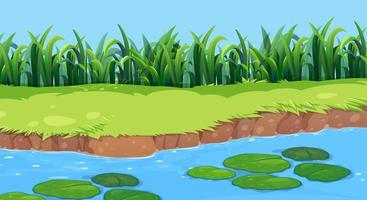 Vlakke aard vijver landschap vector