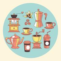 Hand getrokken koffie elementen instellen met vintage stijl
