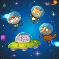 Dieren die de ruimte verkennen vector