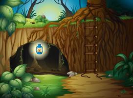 Een grot in de jungle vector