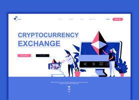 Moderne platte webpagina ontwerpsjabloon concept van Cryptocurrency Exchange ingericht mensen karakter voor website en mobiele website-ontwikkeling. Sjabloon voor platte landingspagina's. Vector illustratie.