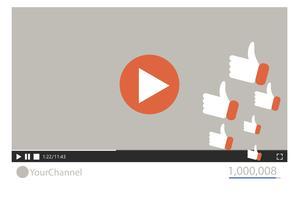 Gratis services krijg meer likes en weergaven voor je video. Platte vectorillustratie