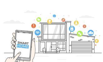Slimme thuis app-concept. Lijn modern huis met digitale kleurrijke vlakke pictogrammen. Vector illustratie