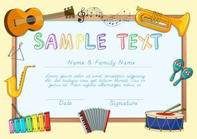 Certificaatsjabloon met muziekinstrumenten vector