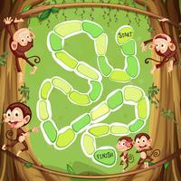 Spelmalplaatje met apen op de boom