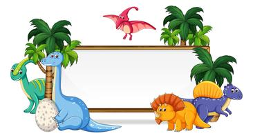 Veel dinosaurus op whiteboard vector