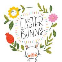 Happy Easter Bunny glimlachend met bloemen, bladeren en belettering