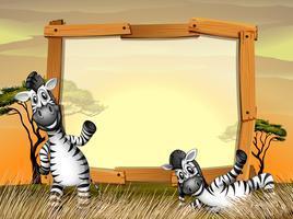 Grensontwerp met twee zebra's in het veld