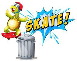 Een schildpad die skatebiard speelt