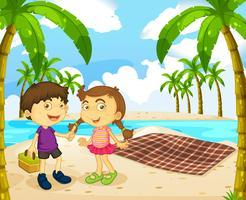 Jongen en meisje picknick op het strand vector