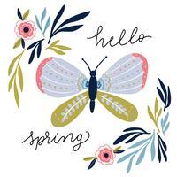 Leuke vlinder met ornamenten, roze bloemen en bladeren vector
