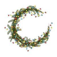 rond kerstframe van dennentakken met slinger van veelkleurige bollen en gouden sterren. feestelijke decoratie voor nieuwjaar en wintervakanties vector