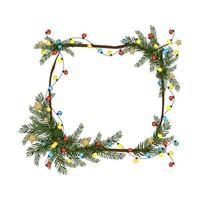 kerstvierkant frame gemaakt van dennentakken met slinger van kleurrijke gloeilampen en sneeuwvlok. feestelijke decoratie voor nieuwjaar en wintervakantie vector