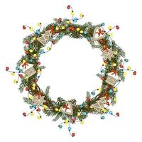 ronde kerstkrans van dennentakken met peperkoek, kleurrijke gloeilampenslinger en sneeuwvlokken. feestelijke decoratie voor nieuwjaar en wintervakanties vector