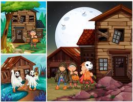 Drie scènes met kinderen in kostuums van Halloween vector