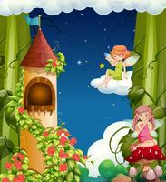 Een magisch sprookjesland en kasteel vector