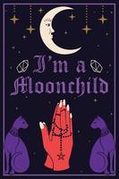 Violet Cats en de maan. Biddende handen met een rozenkrans. Ik ben een Moonchild-tekst vector