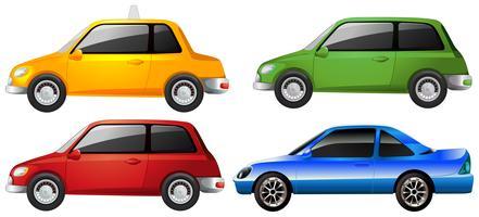 De gele, groene, rode en blauwe auto