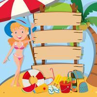Meisje in bikini die zich door de tekens bevindt