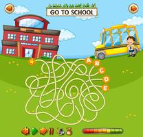 School doolhof spel sjabloon vector