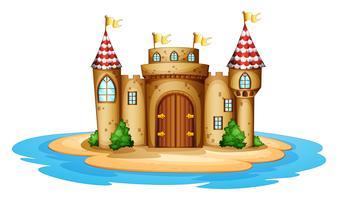 Een kasteel op het eiland vector