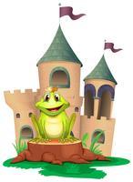 Een kikker zit aan het bos met een kasteel aan de achterkant vector